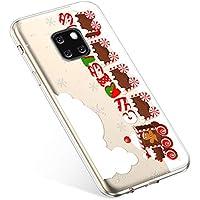 Uposao Handyhülle Weihnachten Huawei Mate 20 Pro TPU Silikon Schutzhülle Weich Transparent Kristall Klar Dünn Handyhülle Backcover TPU Bumper Case Handytasche,Zug