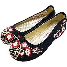 Bonitos y Bailarinas Mujer Baratas Elegantes Zapatos Bordados de Flores Ciruelos Negro