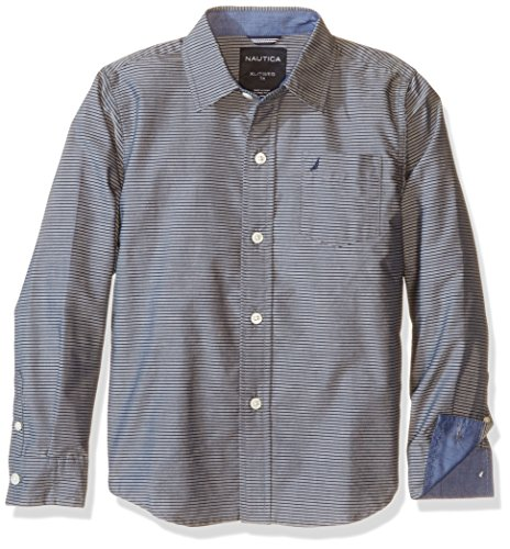 Nautica Big Boys Sailor Feeder Stripe Long Sleeve Woven Shirt With Chambray Trims, Grey, Medium (Woven Long Sleeve Stripe Shirt)