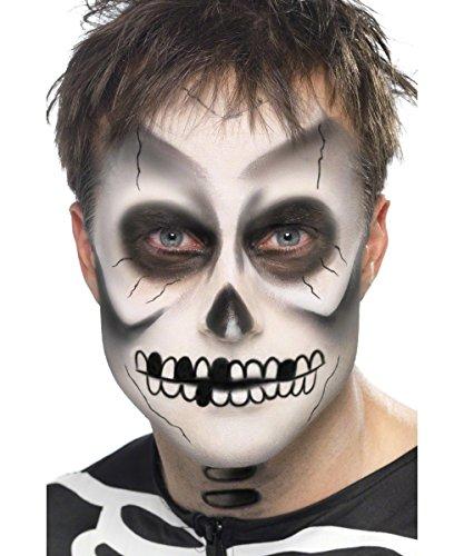 Halloween 4-teilig weiss-schwarz (Skelett Halloween-make-up)