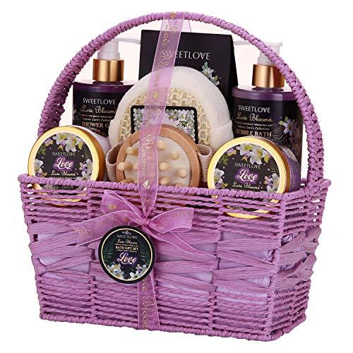 Cesto regalo per donne, set regalo da bagno e corpo per lei, lussuoso, 8 pezzi, profumo di giglio e lilla, ottimo regalo per la festa della mamma, compleanno, Nat