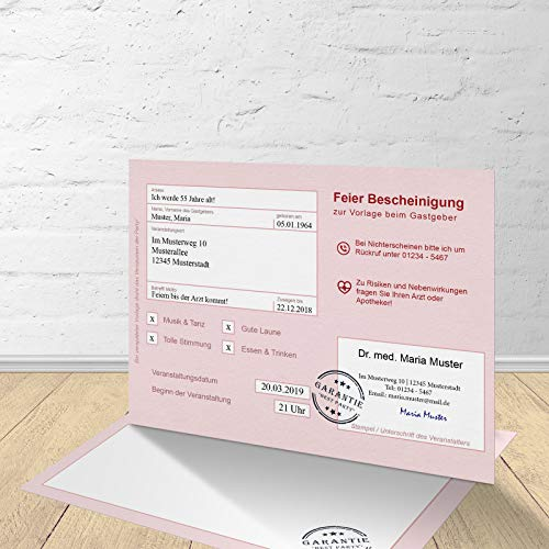 """5 Krankenschein Karten zur Einladung zum Geburtstag mit passenden Umschlägen, Motiv\""""Krankenschein\"""", Einladungskarten zum Geburtstag, Flache Karte zweiseitig im Set zu 5 Stk."""