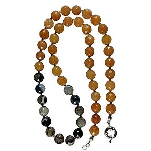 Naturale sfaccettato intorno Agate & grigio agata Beads 24 pollici 61 centimetri. Circa. Collana.