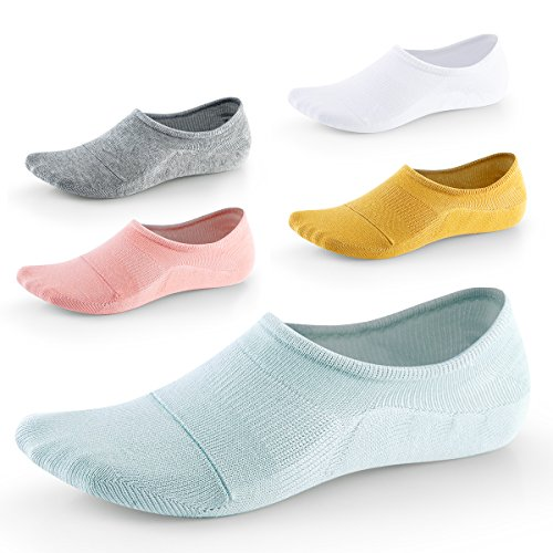 No Show Socks for Women-Low Cut with Non Slip Grip-Invisible Socks for Boat Shoes Loafers Sneakers UK Size5-8 5Pairs SEESILY