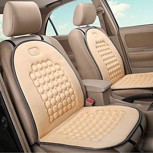HomDSim Autositzauflage mit Massage-Funktion, universelle Sitzauflage, Auto Sitzüberzug (Beige - 2 Pack)