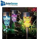 solarsense 6x Solar Garten Mosaik Muster Edelstahl Solar Power Garten Licht–Helle Qualität solar powered Garten Beleuchtung