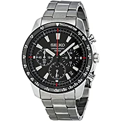 Seiko Men's SSB031 Silver Stainless-Steel Quartz Watch with Black Dial