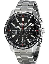 Seiko SSB031 - Reloj de hombre de cuarzo negro con correa de acero (Cronómetro, cristal mineral)