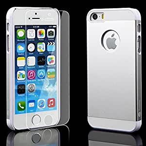 iPhone 5/5S Silver 7H Aluminum Case and 9H Glass Screen Protector Bundle: Amplim® Alloy Anodized Metal On Hard...