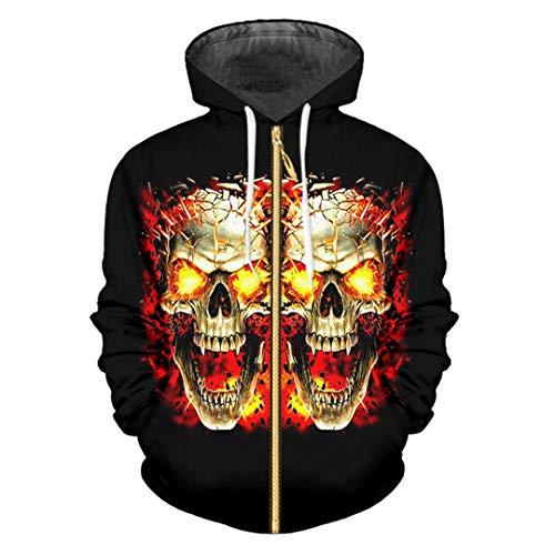 HensGalis Reißverschluss 3D gedruckt Halloween Kürbis und Camouflage Skull Zip Hoodies Black XXXL