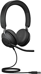 Jabra Evolve2 40 Pc Headset Noise Cancelling Microsoft Teams Zertifizierte Stereo Kopfhörer Mit 3 Mikrofonen Usb A Kabel Schwarz Elektronik
