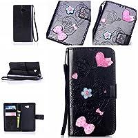 Casefirst Sony Xperia M2 Case, Sony Xperia M2 Accessories Folio Flip Cover Defender Cover Case Slim Shell for Sony Xperia M2 (Black)