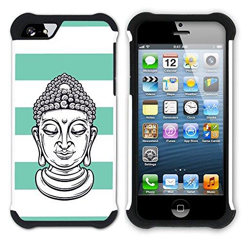 Graphic4You Buddha-Kopf Linien Muster (Orange) Hart + Weiche Kratzfeste Hülle Case Schale Tasche Schutzhülle für Apple iPhone SE / 5 / 5S Wasserblau