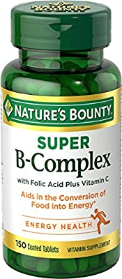 Super B-Complex with Folic Acid Plus Vitamin C, 150 Tablets from NATURES BOUNTY.