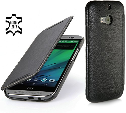 StilGut Book Type Case, Hülle Leder-Tasche für HTC One M8.Seitlich klappbares Flip-Case aus Echtleder für HTC One M8, Schwarz