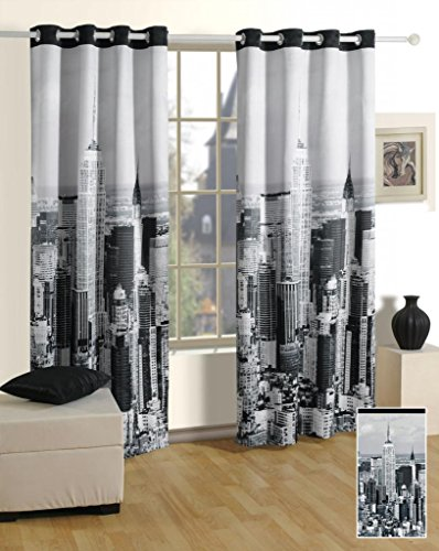 Swayam Digitally Printed Cosmo Fashion Door Curtains with Eyelits (3 Layer Weaving - A Key Feature - Makes Fabric Reversible as Well as Blackout, Shrinkage Proof, Color Fast, no Color Fading)