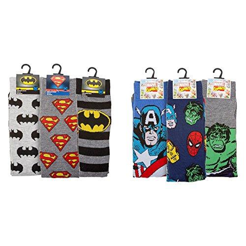 Batman Superman Hulk Captain America Comic Book Hero Mens UK Size 6-11 Ankle Socks Christmas Stocking Filler Present