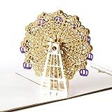 JSGJHK 3d Grußkarte passieren glücklich Geburtstagskarte Danksagung Grußkarte Riesenrad, Riesenrad Gold-Abdeckung