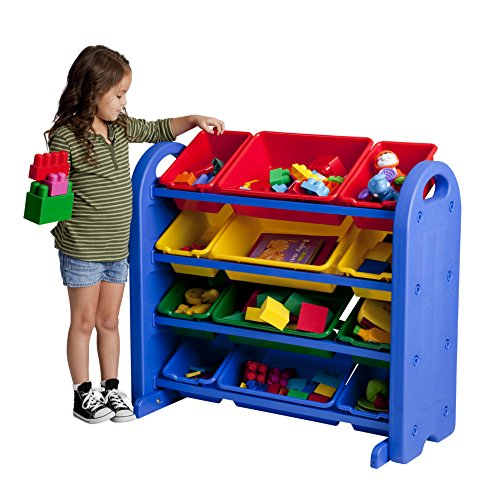 4 Lagerung Cubbies (ECR4Kids Spielzeug Lagerung Organizer mit 12 Mülleimer, 4-Tier, Blue with Assorted Bins, 1)