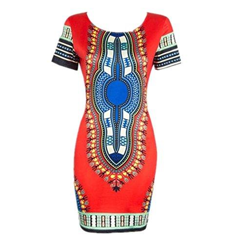 Vovotrade Frauen Traditionelle afrikanische Druck Dashiki Bodycon Sexy kurzärmelige Kleid (EU Size:34, Rot)