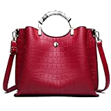 MLpus Mode pu Leder Damen Handtasche hohe qualität umhängetasche amerikanischen Stil umhängetasche (Farbe : Red)