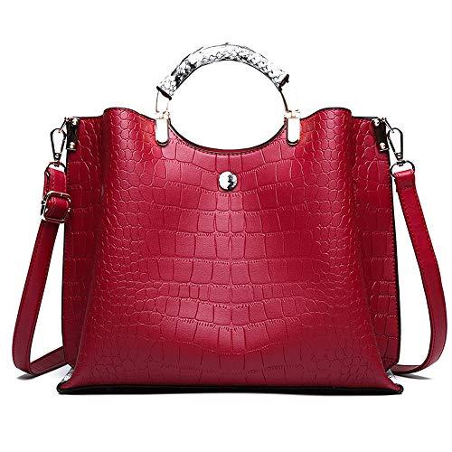 MLpus Bolso de Las señoras de la Manera del Cuero de la PU Bolso de Hombro Americano del Estilo del Bolso del Mensajero (Color : Red)