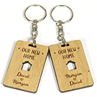 New Home Gift for Couples, Personalised His and Hers Keyring for New Home Gift, Housewarming Gift for Couples - 2 Keyrings Supplied in Presentation Box and Tag