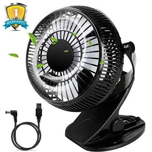 """USB Ventilateur de Bureau avec Clip,5"""" Ventilateur Personnel avec Rotation de 720 °,Ventilateur Portable par 2 Vitesses,Clip de Ventilateur Silencieux pour Poussette de Bébé,Bureau,Chambre à Coucher"""