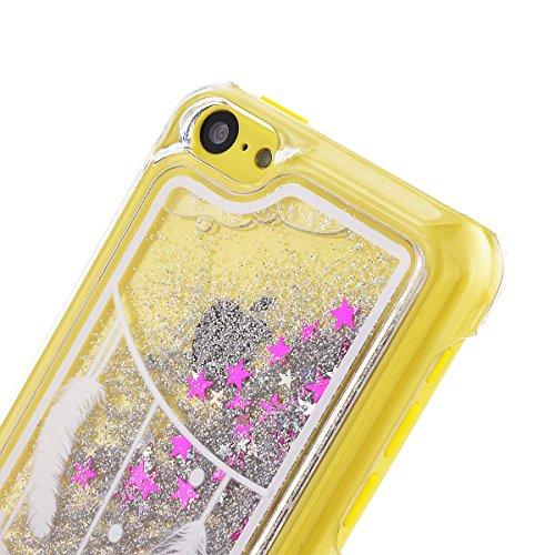 """Fließen Flüssig Hülle für iPhone 6/6s Plus (5.5""""), HB-Int 4 in 1 Etui 3D Luxus Hart Handyhülle Glitzer Bling Tasche Silber Pailletten Plastik Schutzhülle Transparent Dünn Handytasche Slim Thin Backcov Feder"""