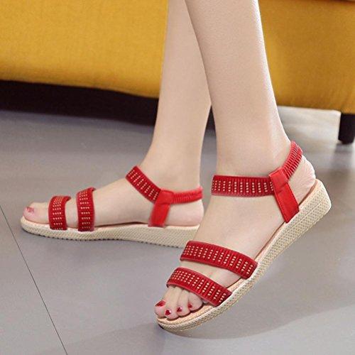 339a4d3984e75f ... Webla Frauen flache Schuhe Elastizität Bohemia Freizeit Dame Sandalen  Peep-Toe Outdoor Schuhe Damen Dianetten