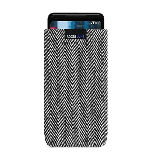 Adore June Business Tasche für Google Pixel 3 XL/Pixel 2 XL Handytasche aus charakteristischem Fischgrat Stoff - Grau/Schwarz | Schutztasche Zubehör mit Display Reinigungs-Effekt | Made in Europe