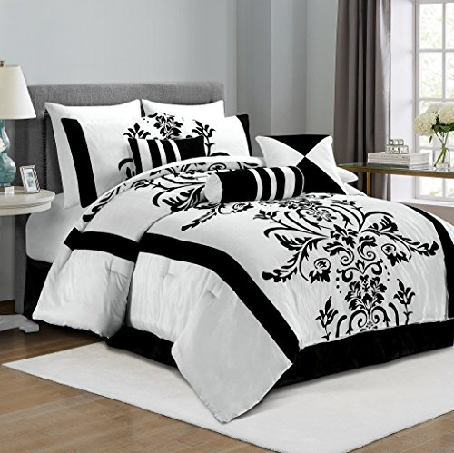 Chezmoi Collection 7-teilig weiß mit schwarz floral Beflockung Tröster Set Bed-in-a-Bag für California King Size Betten, schwarz/weiß, Queen - Floral Black King Tröster