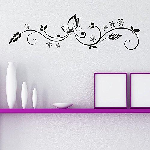 KLEBEHELD® Wandtattoo Ornament mit Schmetterling Größe 80x22cm, Farbe kupfer