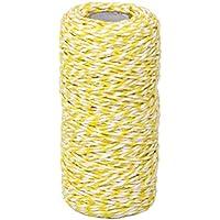 Toyvian 100m Twine Cotton Bakers Twine String Cord Glass Glass Gift Box Decor Craft (Amarillo + Blanco)