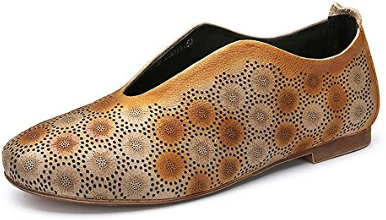 654df918c0ca ZJM- ZJM- ZJM- Summer Pumps Hollow Sandal Feminine Leather Flat Shoes  Vintage Brown Women (Size   37) B07D5YY961 Parent 271773
