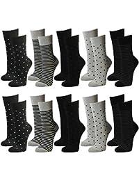 10 Paar Damen Socken Freizeit Socken mit kleinen Punkten und Streifen