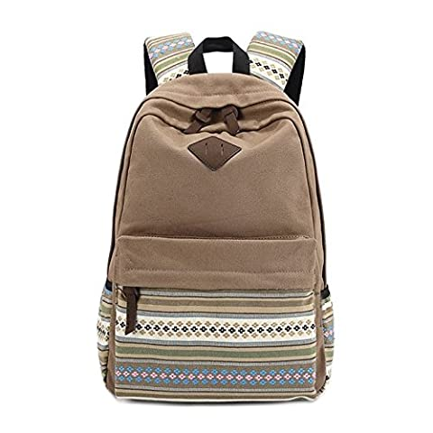 Evay Canvas Backpack Vintage Colorful Stripe School Bag for Youth Teenager Girls and Boys Lightweight Cute Waterproof Casual Daypack Holds 14 Inch Laptop School Shoulder Bag Rucksack Khaki