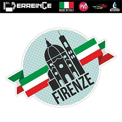 erreinge Sticker Firenze Italia Souvenir Adesivo Sagomato in PVC per Decalcomania Parete Murale Auto Moto Casco Camper Laptop - cm 20