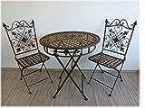 Ziegler 3tlg. Garnitur 3er Set Gartenmöbel 2 Gartenstühle Gartentisch Tisch Stuhl Metall 71153 + 71154