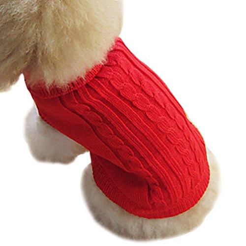 YiJee Haustier Verdickt Weihnachten Kleidung Kleine Hundchen Warme Gestrickte Pullover Rot L