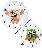 Wanduhr - ' lustige Eule ' - 18 cm Uhr - groß - aus Glas - auch als Tischuhr - für Kinderzimmer Kinderuhr - Analog - leise - fast lautlos / Mädchen Jungen - Kinder / Erwachsene - Eulen Blätter Glasuhr modern - Design
