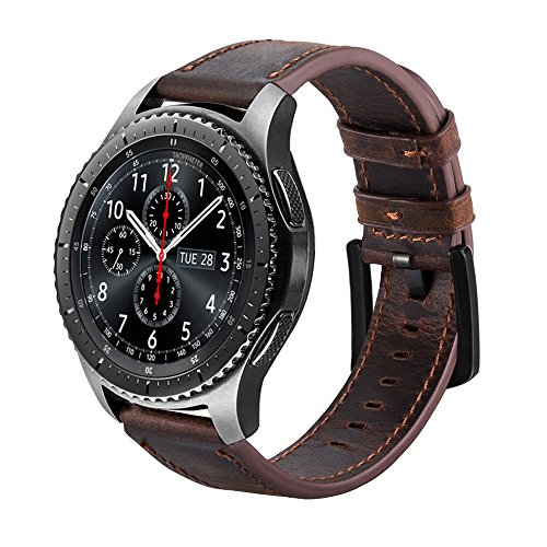 iBazal Gear S3 Strap, Gear S3 Frontier/Classic Leather Band Genuine Leather Strap 22mm Compatible Samsung Gear S3 Frontier/Classic, Samsung Galaxy Watch 46mm [Vintage Series] - Coffee + Black