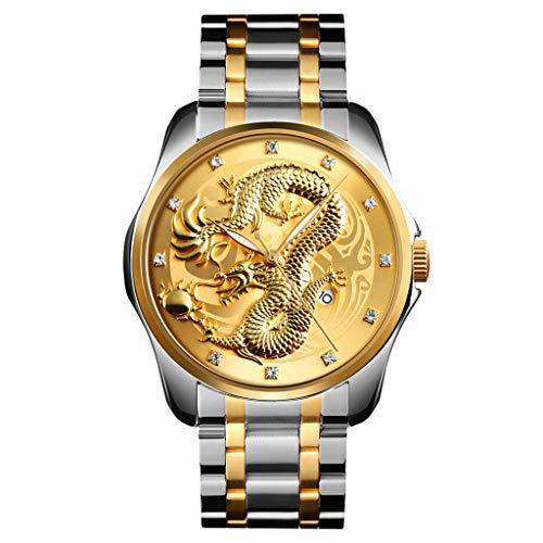 friendGG Uhren Golden Dragon Diamond Calendar Waterproof Herren StahlgüRtel Quarzuhr Uhren Herrenuhren