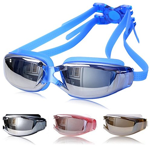 Haehne Schwimmbrillen, Anti-Nebel UV-Schutz Kein Lecken Schwimmbrillen, mit ergonomischen Silikon Augenschalen, für Herren Damen Unisex Indoor Outdoor, Blau