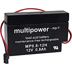 Multipower AGM Lead Battery (Sealed Lead Acid Battery) 12V 0.8Ah Shutter Battery with Special Plug e.g. for