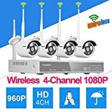FLOUREON Wireless Kit Videosorveglianza (4CH 1080P NVR HDMI DVR + 4x 960P 1.3MP Telecamera Esterno),...