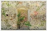 1art1 Mauern Poster und Kunststoff-Rahmen - Romantische Garten-Mauer (91 x 61cm)