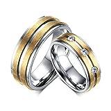 DOLOVE 2 x Ringe Edelstahl Damen Herren Ringe Eheringe Freundschaftsringe Trauringe Partnerringe Gold Silber Ring Zirkonia 6MM Damen 70(22.3) & Herren 52(16.6)