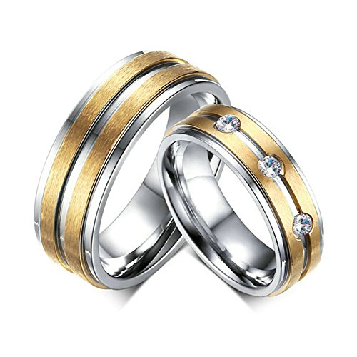 Amody 1 Paar Edelstahlring für Sie und Ihn Paare Verlobungshochzeitsbänder Silber Gold 6MM mattierter Zirkonia Ringe Frauen 57 (18.1) & Männer 65 (20.7) (Ringe Paare Batman Für)