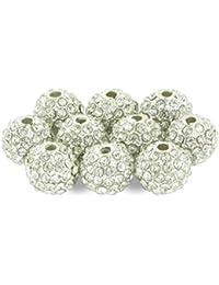 Lot de 10 Perles Style Shamballa Strass Cristal 10 mm - Blanc